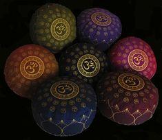 """Meditation Cushion Zafu """"Om Universe"""" Collection: Buckwheat Kapok Fill 7"""" high"""