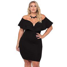 34bc8f97eb3 ROSIANNA Women s Deep V Neck Off Shoulder Short Sleeves Plus Size Dresses  Flounce Ruffled Bodycon Black