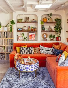 83 home interior design ideas for small spaces that feel spacious 53 - kinal. Living Room Decor, Living Spaces, Red Couch Living Room, Colourful Living Room, Colorful Couch, Retro Living Rooms, Bohemian Living Rooms, Cozy Living Rooms, Diy Furniture Couch