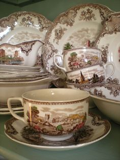 Romantic + HS because I love the transferware, but I don't want it all 'matchy matchy.'  I would mix-up the patterns.