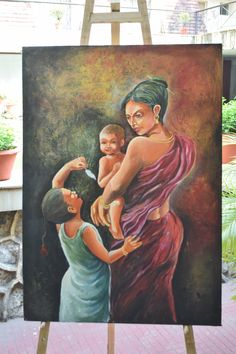 artist : Arjun das title : mother and child acrylic on canvas size : 98 x Village Drawing, Krishna Radha, Indian Paintings, Mother And Child, Famous Artists, Figure Painting, Beauty And The Beast, Canvas Size, Artworks