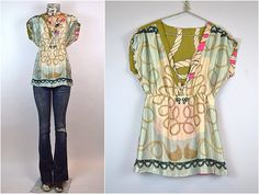 handmade SILK baby doll TUNIC top using VINTAGE scarves
