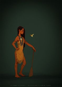 "Note: Hummel created this updated image of Pocahontas to address criticisms of her first design. ""Spunky, age-appropriate Pocahontas/Matoaka, sans feathers in the hair/European imagery/other superfluous details. This is closer to accounts and illustrations of Powhatan dress from the period, and I kinda think it's closer to the Disney design anyway. WIN/WIN."""