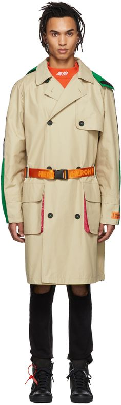 Heron Preston Beige and Mulitcolor Trench Coat Heron, Preston, Trench, Raincoat, Beige, Jackets, Stuff To Buy, Outfits, Shopping