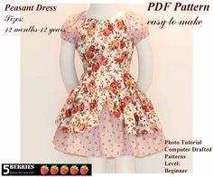 Easy Sew Patterns 12m12y  Girls Peasant Dress Pattern by 5Berries, $6.90