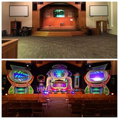 #KidzTurnChurchMakeover  Great week, sharing the Gospel with the families around #northkansascity MO  here's a before/after shot of our invasion at #FirstBaptistChurch.  #AlienChurchMakeover  #kidmin #vbs #fammin #thinkorange #kidsministry #kidzturn
