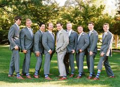 Grey suits brown shoes