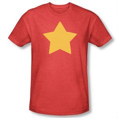 You'll look just like Steven Universe in this red shirt with yellow star.  This Steven Universe shirt is based on the shirt Steven wears.  This adult t-shirt is 60% cotton/40% polyester.