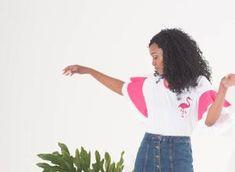 Flamingo Flare T-Shirt Color Pop, Colour, Shirt Sleeves, T Shirt, Statement Tees, Flamingo Print, Smoking, Flare, Fancy