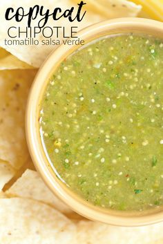 Chipotle Mexican Grill fans will love making their own copycat Chipotle Tomatillo Salsa Verde recipe at home, perfect for chip-dipping and tacos! Add this to your copy cat recipes!