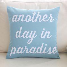 """Alexandra Ferguson """"Another Day in Paradise"""" Outdoor Sunbrella Throw Pillow Color: Po"""