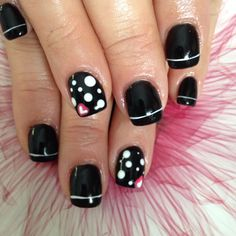 Black Nails with White Polka Dots & a White Stripe. Diy Nail Designs Step By Step, Nail Tutorials, Black Nails, Diy Nails, Hair And Nails, Nail Ideas, Polka Dots, Nail Polish, Nail Art