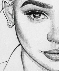 pencil art, sketches of girls faces, girl drawing sketches, girly drawings Girl Drawing Sketches, Pencil Art Drawings, Sketch Art, Cool Drawings, Drawing Faces, Half Face Drawing, Girly Drawings, Drawing Women Face, Drawings Of Girls Faces