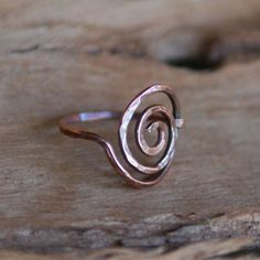 Artisan Copper Ring - Simple Swirl, Wire Wrapped, Handcrafted. $17.00, via Etsy.