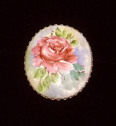 Lovely Vintage Hand Painted pink Rose Cameo brooch pin #Unsigned