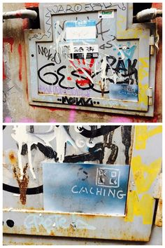 Can you spot the cache?  It's a magnetic strip disguised as graffiti - great urban hide! #geocaching