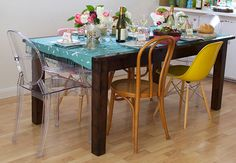 An Early Mother's Day Lunch | Case Study Fiberglass Shell Chairs with Dowel Base
