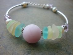 Sea Glass Bracelet  Rare Pink Deep Aqua and by TheMysticMermaid, $80.00