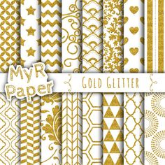 """With Love By MyRpaper #patterns #design #graphic #paperdesign #papercraft #scrapbooking #digitalpapers Gold #glitter digital paper: """"Gold Glitter Patterns"""" Backgrounds with  Doodle, Chevron, Polkadots, Honeycomb, Stripes, Stars, Hearts  HELLO AND WELCOME TO MY SHOP  These dig... #sparkling #golden #gold"""
