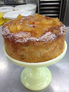 Creme fraiche cake with pineapple rum pink peppercorn jam
