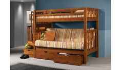 Tall Twin over Full Futon Mission Honey Stairway Bunk Bed Couch with Drawers