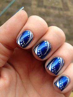 blue metalic glitter acrylic nails ideas