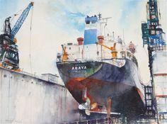 Marine Watercolor Araya, Watercolor, 21 X 29, (image size)