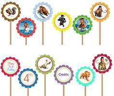 Ice Age 4 Continental Drift - Printable DIY Custom Party Circle Cupcake Toppers | designdream - Cards on ArtFire