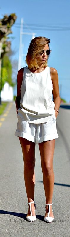 41a196099b7 Street style...just the right length shorts for me. White outfit All