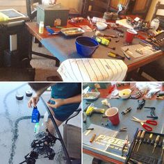 So the two dining room tables that we have ... neither are very usable tonight. Apparently it's RC rebuild night #rccars #traxxas #losi #trackmom http://ift.tt/1NlLhvg
