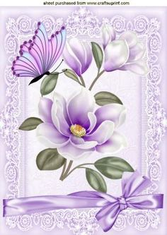 Pretty lilac Magnolias in lace frame with butterfly A4 on Craftsuprint designed by Nick Bowley - Pretty lilac Magnolias, in lace frame with butterfly A4, makes a pretty card, also can be seen in A5 with matching insert  - Now available for download!