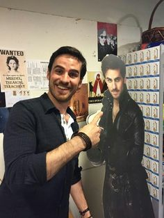 """From Adam Horowitz on Twitter.  Colin O'Donoghue with his """"friend,"""" AKA Hook."""