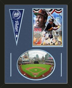 Two framed 8 x 10 inch San Diego Padres photos of Petco Park (including one HORIZONTAL photo framed in an oval) with a San Diego Padres mini pennant, double matted in team colors to 16 x 20 inches.  The lines show the bottom mat color.  The oval photo will be cropped to fit.  (Pennant design subject to change)  $79.99 @ ArtandMore.com