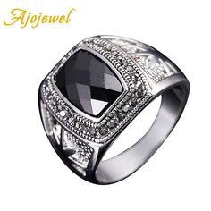 Ajojewel tamaño 8-11 de alta calidad de plata chapado en circón anillo para hombre negro hombres accesorios de joyería de la vendimia