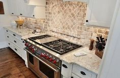 Backsplash - behind the range inset - thin brick veneer - Cherokee Brick - Antique White - Marietta Home (CR Home Design K&B)