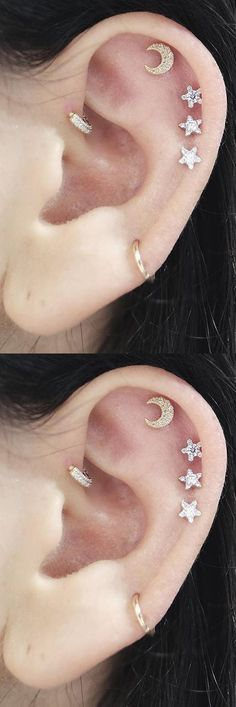Cute Feminine Multiple Ear Piercing Combination Ideas at MyBodiArt.com - Crescent Moon and Stars Sky Cartilage Helix Earring Studs