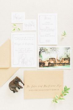 Wedding stationery for Thailand Destination Wedding Inspiration Shoot in Ancient Capital of Thailand   photo by Momento Cativo  Read more So Dazzling - Thai wedding blog #thailandwedding