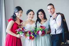 This maid pops among the mix and match bridal party  #brideside #realwedding #wedding #red #blue #mixandmatch #mismatch  A colorful wedding from Australia | Brideside
