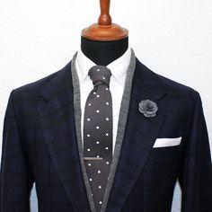 Dark Grey Polka Knitted Tie by GrandFrank on Etsy
