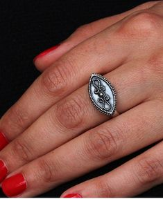 Sterling Silver Ring, Statement Silver Ring, Ethnic ring, Marquise Ring, Ethnic Silver Ring, Unique Silver Jewelry, Boho ring, Indian Ring #oritsosner #jewelry #fashion #art #handmade #etsy #gift #style #ring #rings #weddingring #giftforher #gold #18K #marriage #gentle #Engagementring #giftforher #gemstone  #whitegold #boho #bohoring #Indian #Indianring #Sterlingsilver #silver #925