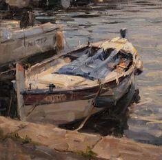 Palette For Oil Painting City Landscape, Abstract Landscape, Seascape Paintings, Landscape Paintings, Landscapes, Boat Drawing, Boat Painting, Outdoor Paint, Southwest Art