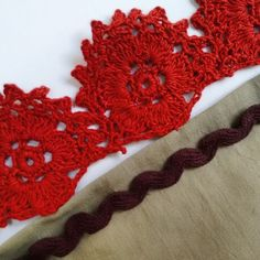 Hand crocheted lace, rick rack and cotton voile fabric, all organic cotton, all natural dyes. Botanica Tinctoria