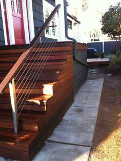 love the railing and the side of the stairs. deck in the background looks like it's floating
