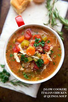 Crockpot Italian Chicken, Quinoa, and Vegetable Soup