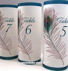 12 Vintage Peacock Table Number Luminaries by PoppySeedStation, $25.00