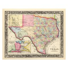 Texas 1860 24x16 Map now featured on Fab.