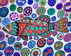 FISH Folk art  Poster Print of painting by by HeatherGallerArt, $12.00