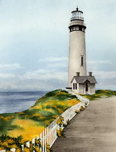 PIGEON POINT LIGHTHOUSE Art Print Signed by Watercolor Artist D J Rogers