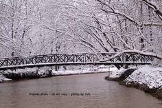 Winter Snow Bridge across the river by CraftingMemoriesOhio