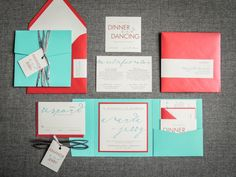Turquoise and Red, Beach Wedding Invitations, Retro Invitations, Square Invitations, Modern Calligraphy Design, by Julie Hanan Design, on #etsy